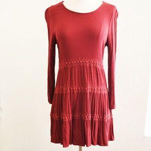 Boho Burgundy Red Long Sleeve Dress Size S